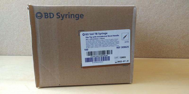 BD 1mL TB Syringe Slip Tip with Intradermal Bevel Needle
